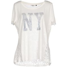 Only T-shirt ($27) ❤ liked on Polyvore featuring tops, t-shirts, white, white lace tee, lace t shirt, short sleeve tees, white tee and lace top