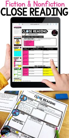 Close reading graphic organizers printable or for Google Classroom - so helpful for teaching in distance learning or using technology with independent reading response for students. Options for close reading fiction or close reading nonfiction and a close reading anchor chart. Close read resources for kids
