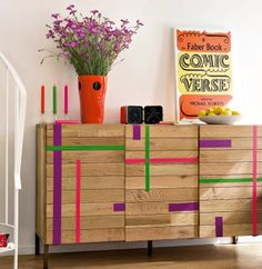 reclaimed wood meets bright geometrics