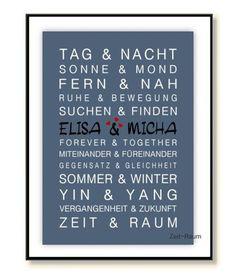 ZEIT-RAUM Kunstdruck Geschenk HOCHZEIT Geburtstag von ZEIT-RAUM auf DaWanda.com