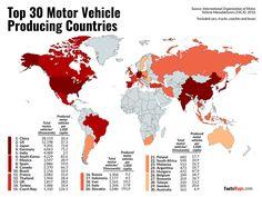 Топ-30 стран-производителей автомобилей