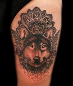 Intricate detail. Wolf tattoo