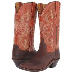Old West Boots LF1543 (Brown Truffle/Antique Waxy Red) Cowboy Boots ($130) ❤ liked on Polyvore featuring shoes, boots, mid-calf boots, leather cowgirl boots, brown boots, cowboy boots, red boots and red cowboy boots