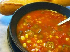 Vegetable soup with a Cajun kick: Okra, corn and some Cajun spices give vegetable soup a spicy Southern twist.