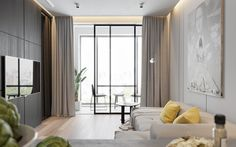 Minimalistic terrace open sliding door light grey couches light wooden flooring