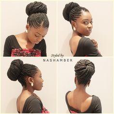 cornrows bun updo for women | Ghana Braids Hair Style in a Updo.