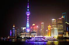 The neon Bund in Shanghai China