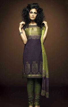 Cotton Salwar Kameez, Designer Salwar Suits  – Purple  Green Cotton Churidaar Salwar Kameez is garnished with embroidery  embellishments that are unpretentious and add grace to your personality.