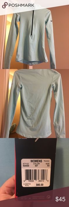 Nike Pro Quarter ZIP long sleeve Brand new with tags, XS Quarter zip long sleeve running/ athletic shirt. I have another just like it, super comfy! Definitely a great deal Nike Tops Tees - Long Sleeve