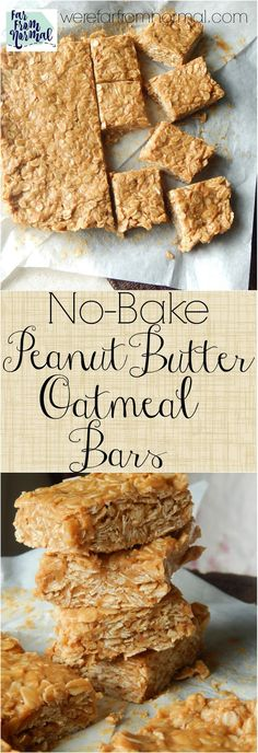 Looking for an easy no-bake treat? These bars are so easy and super tasty! Only … Looking for an easy no-bake treat? These bars are so easy and super tasty! Only a few ingredients you probably have in your pantry right now! No Bake Oatmeal Bars, Peanut Butter Oatmeal Bars, Peanut Butter No Bake, No Bake Bars, Peanut Butter Recipes, Oreo Dessert, Mini Desserts, Holiday Desserts, Christmas Sweets