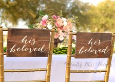 Like this but printed on fabric bows for the chairs at the reception