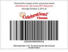 50 cents off Raisinets at Celebration! Cinema.