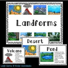 This product includes plans and activities to help you teach landforms/biomes to your primary class! The packet includes:pond, ocean, forest, rainforest, beach, volcano, mountain, arctic, tundra, savanna, tropics, prarie, desert, countryside, cityp. 1 How to use this product!p 2 Landform color poster including: pond, ocean, forest, rainforest, beach, volcano, mountain, desertp. 3-10 Half page color vocab cards with picture for a word wallp.11 Lanform/Biome headersp. 12-26 Color posters for…