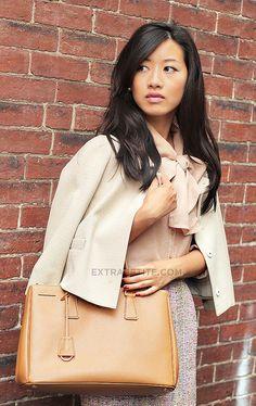 Bow blouse, jacket, purse