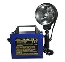 Nightsearcher 750 Utility Searchlight. Description:  .1500/175 lumen  .50W main bulb and 10W secondary bulb  .Operates for 1.5hrs on high and 8hrs on low  .Can be used direct from vehicle cigar socket  .Swivels and tilts to shine in all directions  .Battery charging indicator (red to green)  .Supplied with: Shoulder strap, mains charger, vehicle charger and vehicle adapter. #Torches, #Flashlight, #Torch, #Searchlight - http://www.rapidtoolsdirect.co.uk/category/torches-lamps