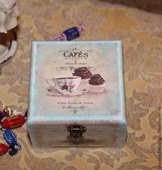 """Шкатулка для чайных пакетиков """"Чашечка чая"""" - голубой,чай,пирожное,капкейк"""