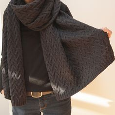 Wear it casually as a really big scarf, or on dressier occasions as a classic wrap. Or use half as much yarn and cast on fewer pattern repeats for a more conventional scarf size.