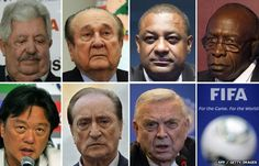 A combination of file pictures shows Fifa officials (L to R, from upper row) Rafael Esquivel, Nicolas Leoz, Jeffrey Webb, Jack Warner, Eduardo Li, Eugenio Figueredo and Jose Maria Marin, 27 May 2015