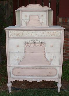 Pink and ivory cabinet-top dresser with splashboard and half-serpentine upper sides  1910-1930s  paintique.com   Painted Antique Furniture