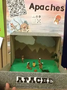 grade Indian diorama with QR code. Indian Project, Social Studies Projects, Diorama Ideas, History Projects, My Boys, Toy Chest, Homeschool, Study, Studio