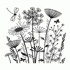 Flower Embroidery Pattern Love this crafty individuals stamp! On the site it shows this stamp pattern embroidered. Hand Embroidery, Embroidery Designs, Flower Embroidery, Embroidered Flowers, Floral Embroidery Patterns, Embroidery Stitches, Plant Drawing, Drawing Flowers, Flower Design Drawing