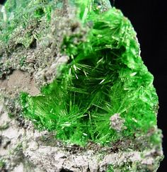 Cuprosklodowskite is a rare uranium mineral that formed from the oxidation of copper and uranium bearing minerals.