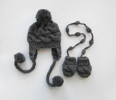 Newborn Baby Winter Hat and Mittens , Baby Boy Hat and Mittens  , Knit Baby Hat and Mittens for Baby by KnittingLand on Etsy