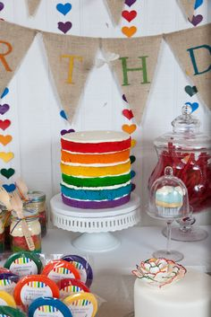 I love this rainbow layered cake unfrosted.