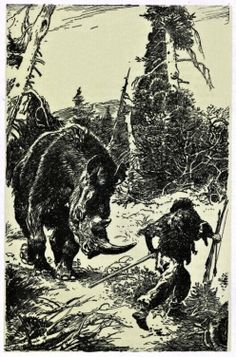 The Wooly Rhinoceros Hunter by Zdeněk Burian Prehistoric World, Prehistoric Animals, Early Humans, Extinct Animals, Stone Age, Sea Monsters, Rhinoceros, Fauna, Mammals