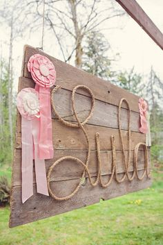 "@Lindsey Grande Grande Hirni....incase you ever do a cowgirl birthday party - so cute! this is the best i have seen a rope spell out a name...so gosh darn cute! Photo 1 of 36: Pink Brown Vintage Ponies / Birthday ""Vintage Pony Party"" 