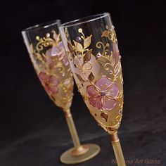 Champagne Flutes, Wedding Toasting Glasses, Antique Pink and Gold, Royal Wedding,  HAND PAINTED,  Set of 2 by NevenaArtGlass on Etsy https://www.etsy.com/listing/202180151/champagne-flutes-wedding-toasting