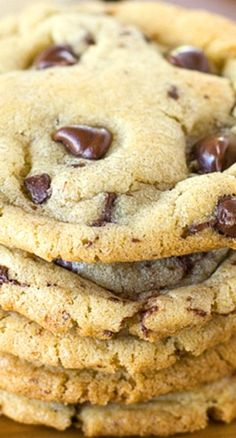 The Best Bakery Style Chocolate Chip Cookies ~ Crisp and chewy chocolate chip cookies studded with chocolate chips and flecked with chocolate chunks and shavings. These bakery style cookies are the best!