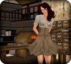 """I Wish I Was a Sexy Librarian,"" by Stacie Pryor, via Flickr -- I wish I'd seen that lovely card catalog in Second Life; kudos to the builder! Per the info provided, this photo is from the ""Drowsy"" sim (http://slurl.com/secondlife/Drowsy/26/215/27)."