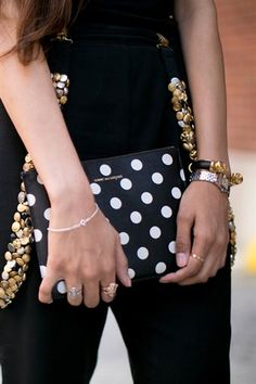 pretty polka dot clutch, mixed metal accessories.