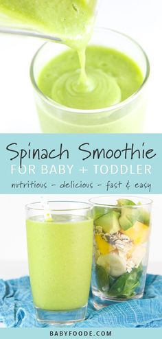 Babys First Spinach Smoothie is packed with spinach avocado mango banana oats chia seeds and coconut milk. Baby Smoothies, Toddler Smoothies, Healthy Green Smoothies, Healthy Breakfast Smoothies, Green Smoothie Recipes, Yummy Smoothies, Healthy Drinks, Healthy Food, Gourmet