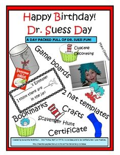 This packet includes all you'll need to create the most fabulous Dr. Suess Birthday ever!Templates and directions for:  Cupcake decoratingSeu...