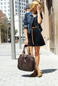 Vestido/Dress: Topshop Chaqueta/Jacket: Topshop Cinto/Belt: H & M Flats/Shoes: Minetonnka Bolso/Bag: Topshop Simple Outfits, Chic Outfits, Pretty Outfits, Fashion Outfits, Spring Summer Fashion, Spring Outfits, Topshop, Love Fashion, Stylish