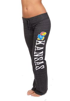 Kansas Jayhawks Womens Black Tri-Blend Pants