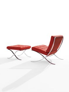 Class mid-century Barcelona chair by Knoll furniture - usually I see this in black but I love the bold red!@Rachel Madden Business Interiors is proud to sell @Knoll Design  products. www.mbilv.com
