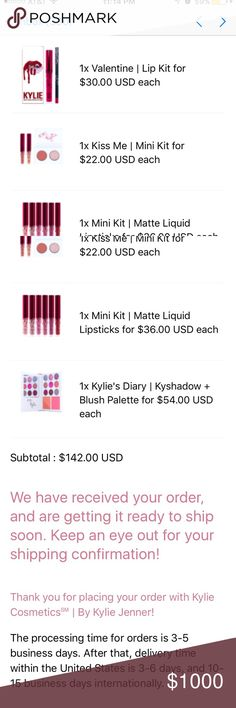 Kylie Cosmetics Valentine Collection, Confirmed! I'm selling these products separately: 1 Valentine Lip kit, 1 Kiss Me mini kit, 1 mini kit 6 matte lipsticks, and 1 Kylie's Diary.  I will post pics once the products are delivered. I also will determine price then. Kylie Cosmetics Makeup