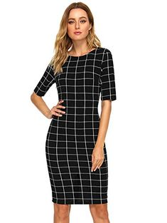 Women's Short Sleeve Elegant Sheath Pencil Dress >>> Visit the image link more details. (This is an affiliate link) Work Dresses For Women, Clothes For Women, Western Wear For Women, Comfy Dresses, Pencil Dress, Work Wear, I Dress, Bodycon Dress, Elegant