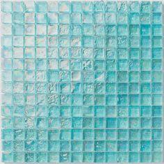 Iridescent Pool Glass Tile Aquamarine 1x1