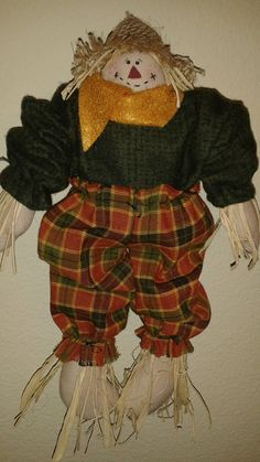 Handmade Primitive Fall Fabric Scarecrow Doll by PatchworkFriends