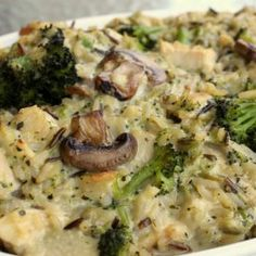 Chicken, Mushroom, Broccoli, and Rice Casserole Recipe Main Dishes with olive oil, onions, mushrooms, celery, wild rice, cooked chicken breasts, water chestnuts, broccoli florets, cream of chicken soup, cream of celery soup, light mayonnaise, salt, pepper