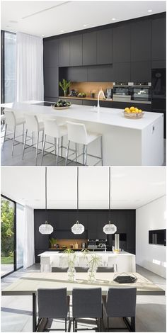Another stand-out feature of this simple yet modern house is the contemporary black and white kitchen. Sleek, classy, and eye-catching, the black and . Modern Kitchen Cabinets, Modern Kitchen Design, Kitchen Layout, Interior Design Kitchen, Modern Design, Kitchen On A Budget, Home Decor Kitchen, Kitchen Furniture, Furniture Stores