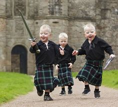 Three year old triplets, Jack, Cameron and Liam in Scotland...this is too cute!