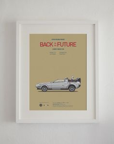 Movie-inspired posters featuring the movies' iconic cars, by Jesús Prudencio, available on Etsy