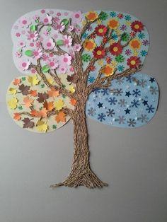 alberi quattro stagioni lavoretti bambini | La caratteristica di questo lavoretto è nel comporre in un unico ...