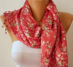 Women  Red Scarf  Headband Necklace Cowl with Lace  by fatwoman, $17.00