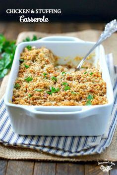 This Chicken and Stuffing Casserole is an easy dinner that has been loved by generations. Prepare the comfort food for a cozy weeknight meal! in 2 8 casseroles and freeze Baked Chicken, Chicken Recipes, Chicken Soup, Turkey Recipes, Tuscan Chicken, Chicken Ideas, Chicken Wraps, Cheesy Chicken, Rotisserie Chicken